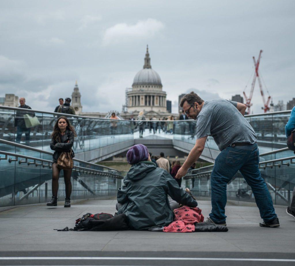 Helping beggar