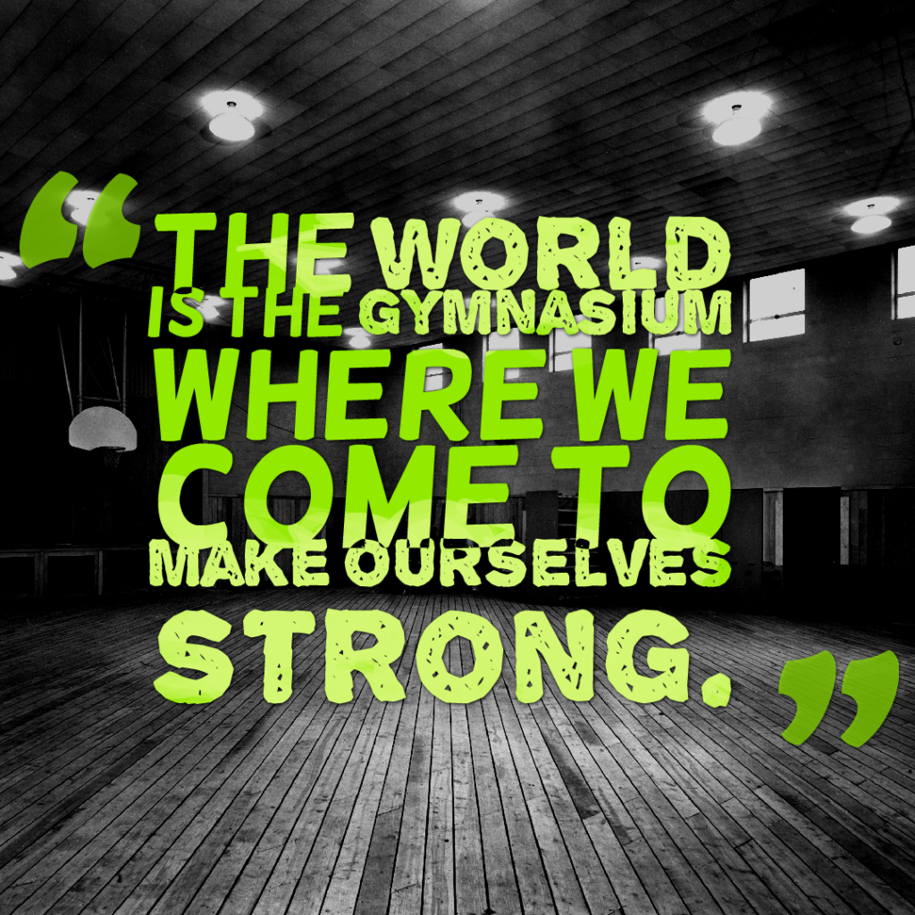 The world is the gymnasium where we come to make ourselves strong.