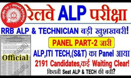 RRB ALP & TECH PANEL PART-2 बड़ी खुशखबरी! 2191 Candidates Selected,कई Waiting Clear!