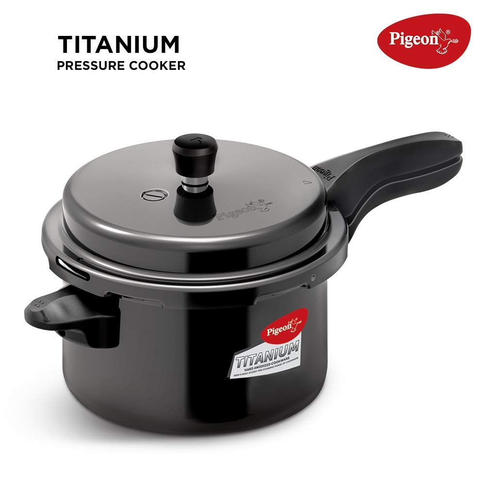 Pigeon by Stovekraft Titanium 3 Ltrs Pressure Cooker - Black